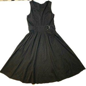 Theory Black Linen Blend Dress Fit And Flare 6